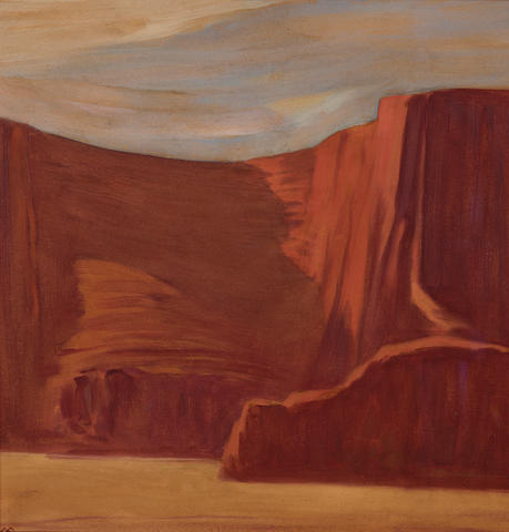 Xavier Martinez (1869-1943) Canyon de Chelly, Arizona 19 1/4 x 18 1/2in overall: 25 x 24 1/2in (Executed in 1929)