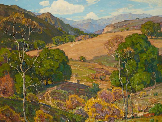 William Wendt (1865-1946) When Fields Lie Fallow 40 x 50in overall: 52 x 62in (Painted circa 1921)