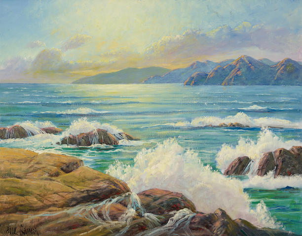 Paul Grimm (1891-1974) Active Seashore 28 x 36in overall: 31 x 39in