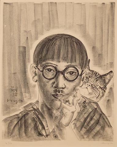 Léonard Tsuguharu Foujita (1886-1968); Autoportrait au chat;