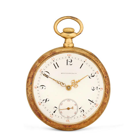 Patek Philippe. An 18K gold open face lever watchretailed by Spaulding & Co, Chicago circa 1910
