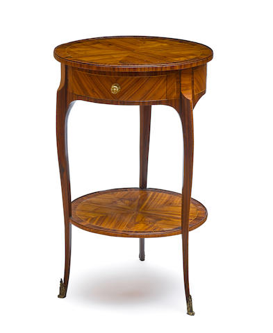A Louis XV/XVI transitional inlaid walnut guéridon 19th century