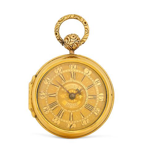 Charles Quenovault. A gold pair case verge watchinner case hallmarked London, 1728