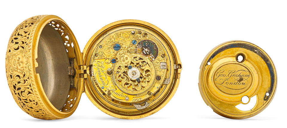 George Graham, London. A fine and rare repousse gold pair case quarter repeating cylinder watch, the outer case by George Michael Moserinner case hallmarked London, 1750
