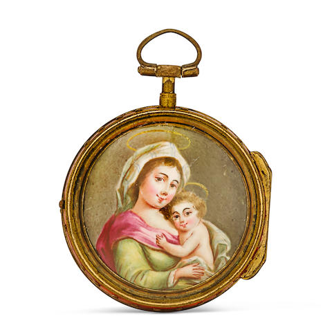 Pierre Rigaud à Genève. A good varicolored gilt metal triple case verge watch with enamel portrait of Mary and Jesusthird quarter 18th century