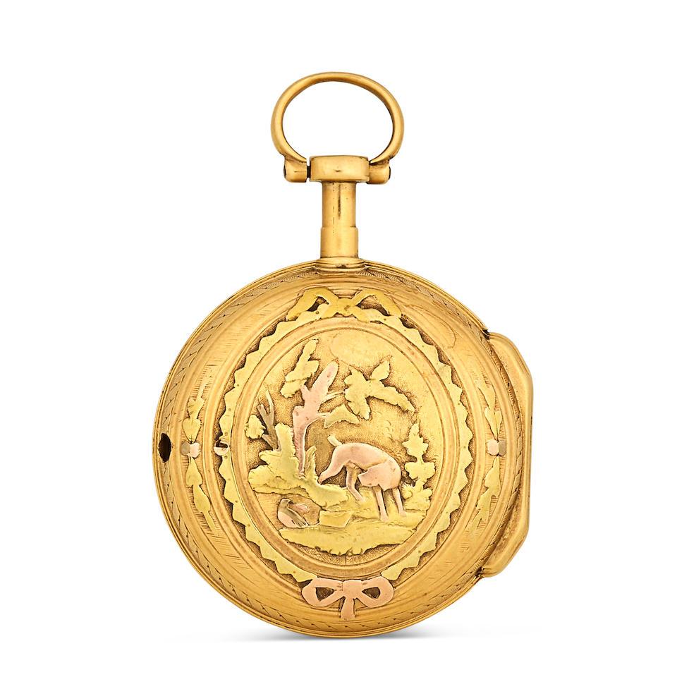 Two vari colored gold verge watchesSigned Romilly à Paris and Terrier à Paris last quarter 18th century (2)