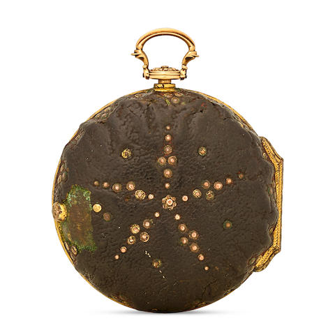 Benjamin Gray, London, A gold and shagreen pique- work pair case cylinder watchinner case hallmarked London, 1765