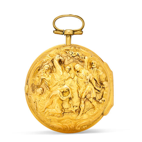 A gold high relief repousse triple case watchmid-18th century and later