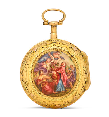 J. Baptiste Baillon à Paris. A varicolored gold and enamel quarter repeating verge watch third quarter 18th century