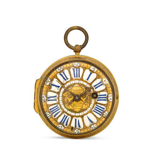 Charles Voisin à Paris. A gilt metal verge oignon watchfirst quarter 18th century
