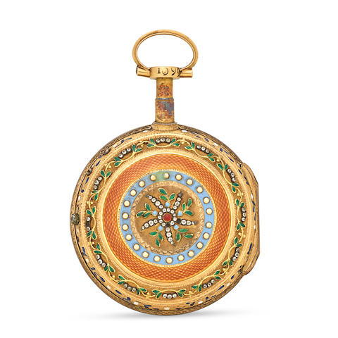 Ph. Terrot & Achard, Geneva. An enameled gilt metal verge watch third quarter 18th century
