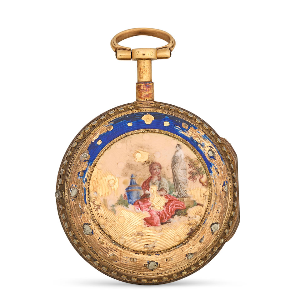 "Three Swiss enameled gold verge watchesvariously signed ""Breguet à Paris"", ""Vaucher à Paris"" and the last unsigned late 18th century (3)"