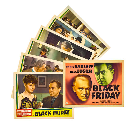 A set of 7 lobby cards from Black Friday