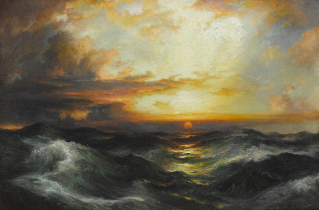 Thomas Moran (1837-1926) Setting Sun at Sea  20 1/4 x 30 1/4in