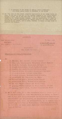 The German Surrender: Radio announcement from Doenitz to 14 German Commanders.  Typed document in German, 2 pp, 370 x 200 mm, Flensburg, Germany, May 7, 1945,