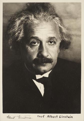 """EINSTEIN, ALBERT. 1879-1955.   Photograph Signed (""""Albert Einstein""""), 8 x 10 inches, gelatin silver print,"""