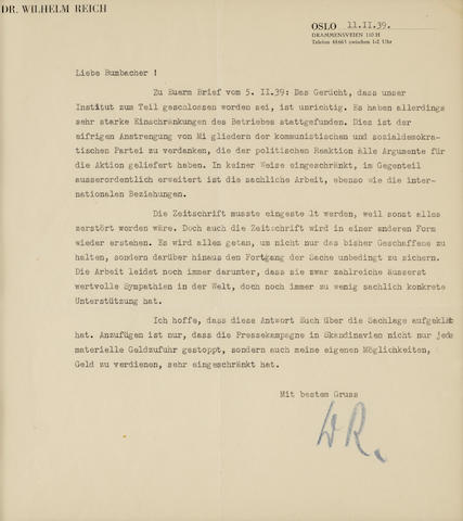 "REICH, WILHELM. 1897-1957. Typed Letter Initialed (""W.R.""), 1 p in German, 8vo,"