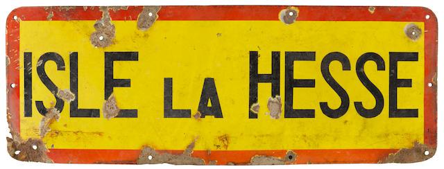 "Siege of bastogne: ""Isle la Hesse"" hamlet road sign, the HQ of 101st airborne Division. Belgian, 1944."