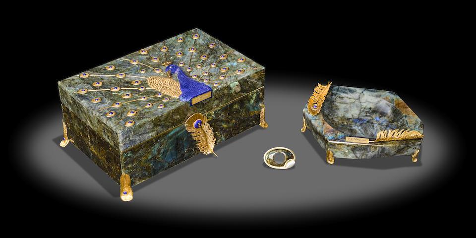Labradorite and Lapis Humidor Set by Luis Alberto Quispe Aparicio