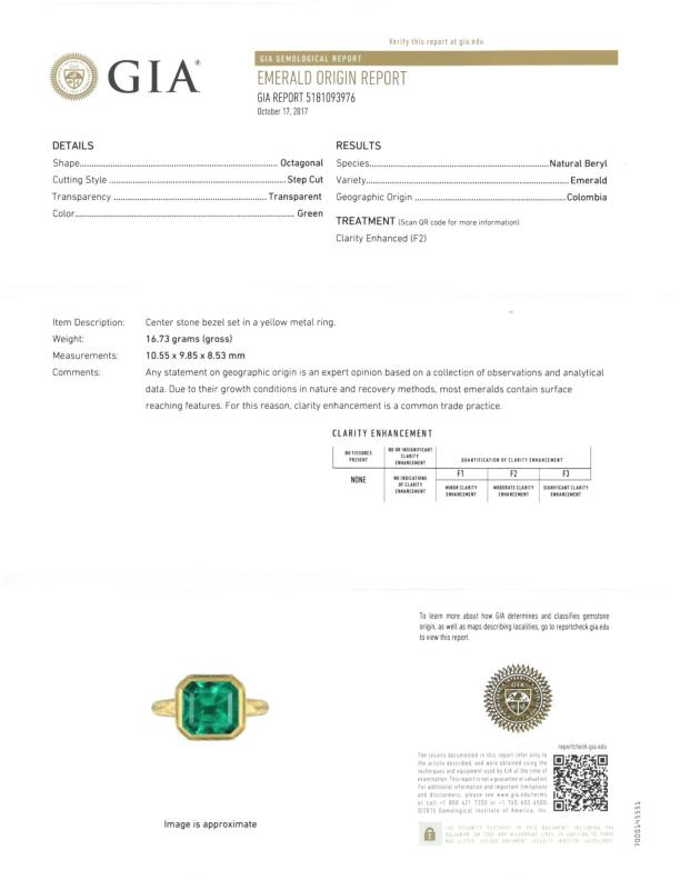 An emerald and 18k gold ring