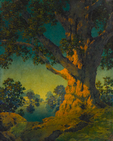 Maxfield Parrish (1870-1966) Study for Janion's Maple (Under Summer Skies) 11 3/4 x 9 1/2in Painted circa 1956.