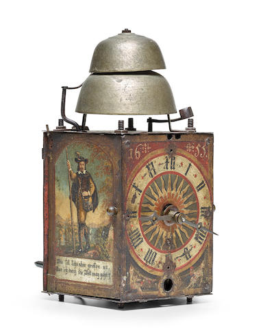 A German painted iron quarter striking weight driven chamber clock17th century and later