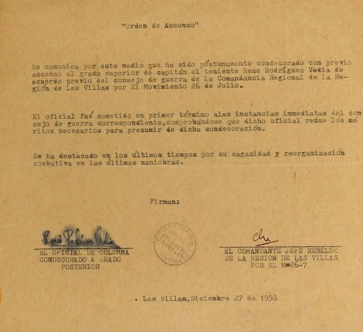 """GUEVARA, CHE. 1928-1967. Typed Document Signed (""""Che""""),"""