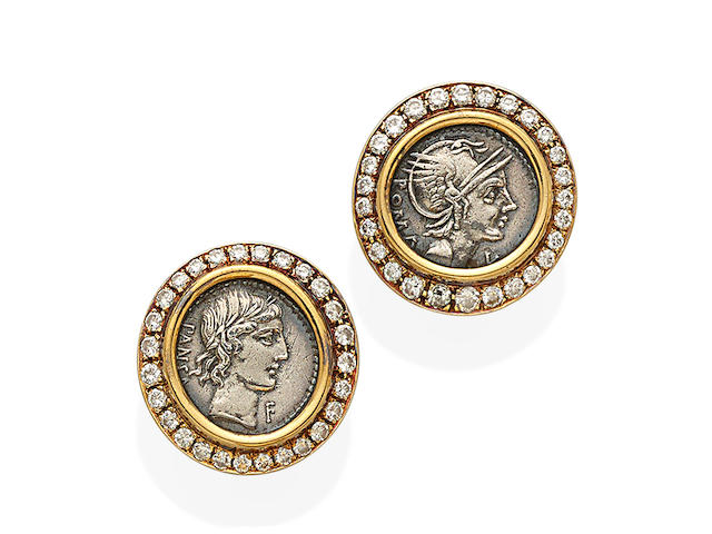 A pair of ancient silver coin, diamond and 18K gold ear clips, Bulgari