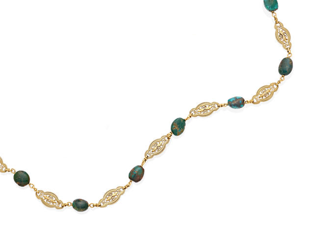 A turquoise and gold necklace, French,