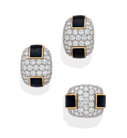 A diamond, enamel, platinum and 18k ear clip and ring set