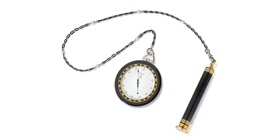 Cartier.  A rare onyx, diamond and enameled gold mounted jump hour dress watch with chain and a mechanical pencil en suite    Ref: 364 on watch pendant; 401 on chain, Circa 1925