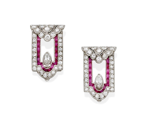 A pair of Art Deco ruby, diamond and platinum clip brooches,
