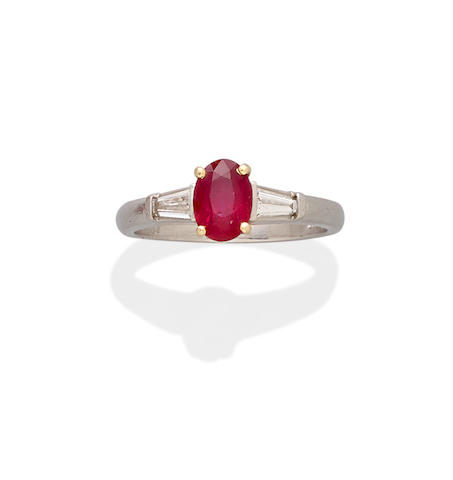 A ruby, diamond, platinum and 18k gold ring, Tiffany & Co.