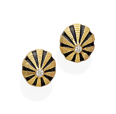 A pair of diamond, enamel and 18k gold earrings, Schlumberger, Tiffany & Co.