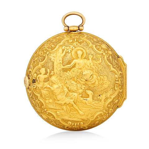 William Wright, London. A repousse gold pair case verge watchsecond quarter 18th century