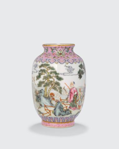 A miniature famille rose enameled porcelain, vase Haoran Tang mark