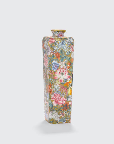 A Millefleur and gilt decorated vase Qianlong mark, late Qing/Republic period