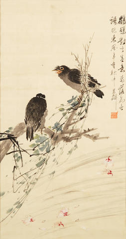 Ni Tian (1855-1919)   Birds on Flowering Branches, 1911