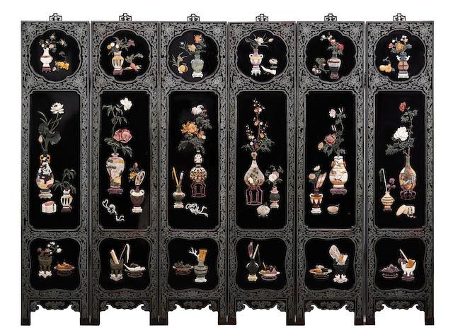 Six-panel hanging screens with hardstone overlay
