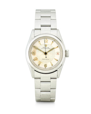 Rolex. A stainless steel manual wind wristwatch with red date OysterDate Precision, Ref: 6066, circa 1961