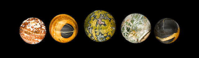 Collection of Five Mineral Spheres