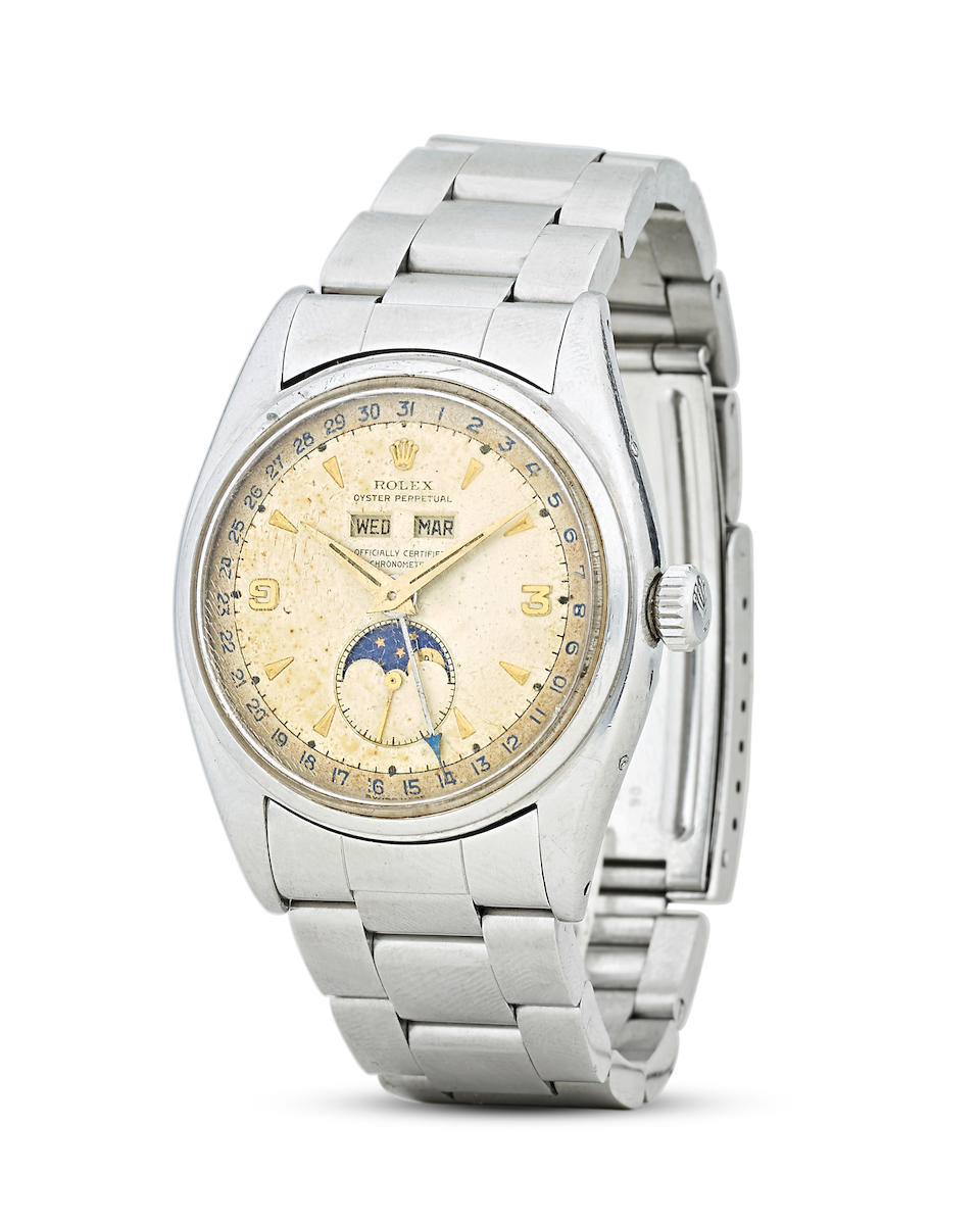 Rolex. An Extremely rare and historically important stainless steel 'Explorer 3-9 dial' Automatic wristwatch with triple calendar and moonphaseRef: 6062, circa 1953