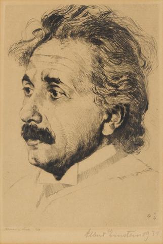 EINSTEIN, ALBERT. 1879-1955. Original etching, a portrait of Albert Einstein by Hermann Struck,