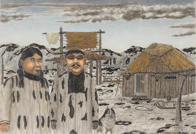 """A James Kivetoruk Moses artwork, """"Mr & Mrs Napasuk Big Chief East Cape Siberia"""""""