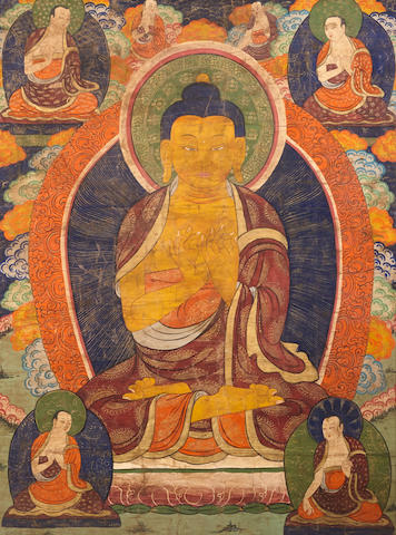 A Massive Thangka of Shakyamuni Tibet, Late 19th/Early20th century