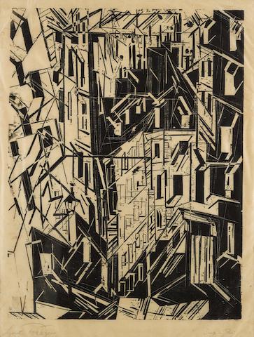 Lyonel Feininger (1871-1956); Strasse in Paris;