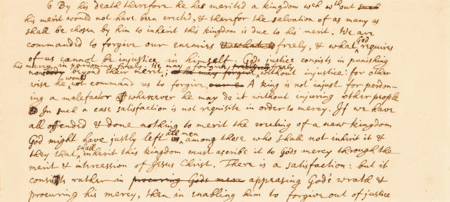 NEWTON, ISAAC. 1642-1727. Autograph Manuscript in English, a portion of a draft of Newton's study on revelation,
