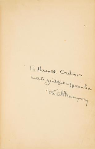 HEMINGWAY, ERNEST. 1899-1961. For Whom the Bell Tolls. New York: Charles Scribner's Sons, 1940.