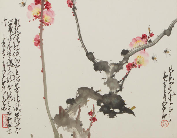 Zhao Shao'ang (1905-1998)  Plum Blossoms and Bees, 1959