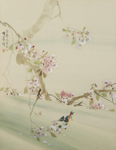 Zhang Shuqi (1899-1956)  Bird, Plum Blossoms and Stream